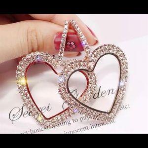 Heart Rhinestone Gold-tone dangle earring
